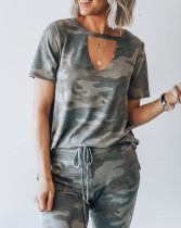 Kurze Ärmel ausgeschnitten Camou Shirt