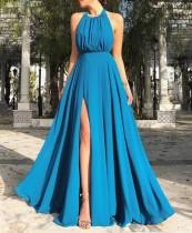 Blaues Halfter Langes Kleid