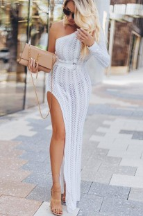 シングルスリーブハイカットニットロングドレス