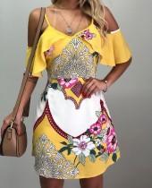 A-Line-Kleid mit Print-Trägern