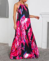 Imprimir vestido largo sin espalda halter colorido