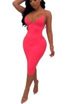 Einfarbig, figurbetontes Kleid