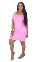 Einfarbiges Hemdkleid mit kurzen Ärmeln