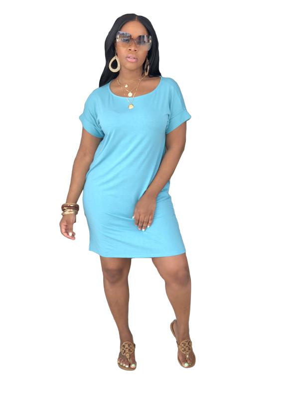 Vestido de camisa de color sólido con mangas cortas