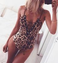 Uma peça Lace Up Leopard Straps Swimwear