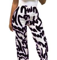 Print High Waist Loose Trousers