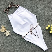One-Piece Backless Swimwear Halter