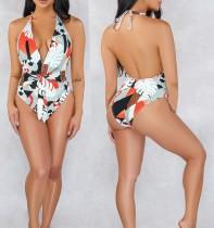 Open Back Sexy Print Einteiliger Badeanzug