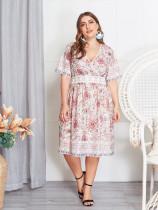 Vestido largo floral de manga corta talla grande