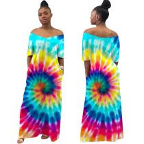 Print V-Neck Loose Long Dress