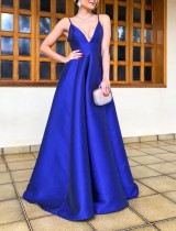 Blue Straps V-Neck Evening Dress