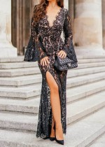 Black Lace Sexy Evening Dress with Wide Cuffs