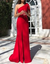 Red One Shoulder Split Evening Dress