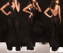 Sequins Black Sexy Backless Jumpsuit