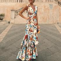 Deep-V Flower Sleeveless Evening Dress