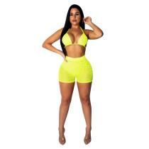 Sexy con cuentas sujetador y pantalones cortos