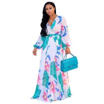 Lange mouwen bloemen chiffon maxi jurk