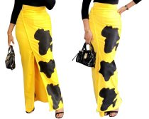Black and Yellow Wrapped Long Skirt