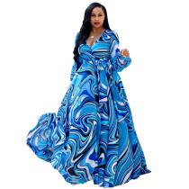 Lange mouwen kleurrijke chiffon maxi jurk