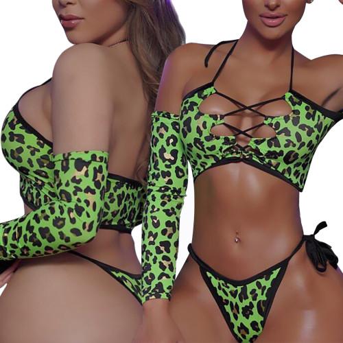 Costumi da bagno sexy con pizzo leopardato verde