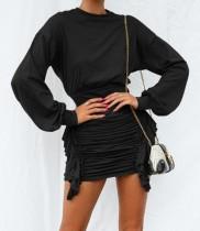 Uzun Kollu Dantelli Mini Elbise