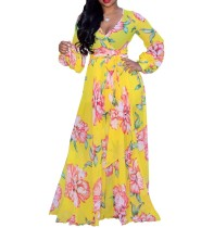 Long Sleeves Flower Wrapped Maxi Dress