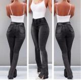 Zwarte uitwassen hoge taille jeans