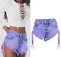 Sexy Lace Up Fringe Jeans cortos