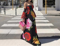 Strapless High Waist Flower Maxi Dress
