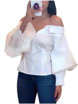 Blusa Branca com Mangas Pop