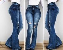 Azul lavado lavado de cintura alta Jeans anchos