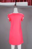 Vestido rosa de la camisa del o-cuello