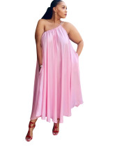 Pink One Shoulder Long Loose Dress
