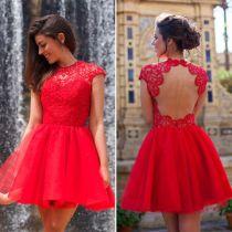 Open Back Red Chic Skater Dress