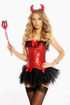 Sexy rood en zwart Evil Girls-kostuum