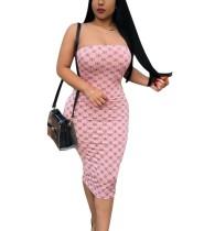 Vintage-trägerloses, figurbetontes Kleid mit Print