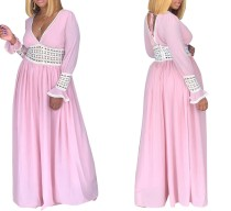 Pink Detailed V-Neck Maxi Dress with Sleeves