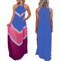 Contrast Wavy Halter Maxi Dress