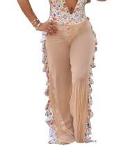 Pantalones de malla divididos sexy patchwork