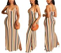 Stripped Straps Split Long Dress