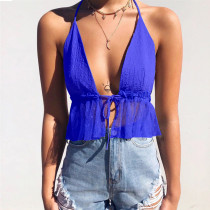 Sexy Fit-and-Flare Halter Crop Top