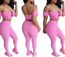 Top e leggings a fascia rosa