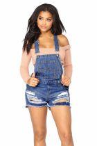 Culotte corto con tirantes azul de Denim
