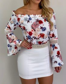 Off Shoulder Flower Blouse with Wide Cuffs