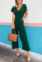 V-Neck Wide Jumpsuit with Short Sleeves