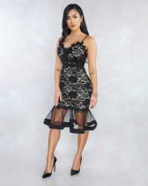 Schwarze Spitze Riemen Meerjungfrau Partykleid
