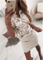 Weiße romantische Bluse drucken