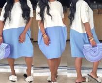 Kontrastloses, lockeres Hemdkleid mit kurzen Ärmeln