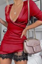 Sexy Plung Wickelkleid mit Spitzensaum