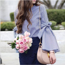 White and Blue Stripped Blouse with Wide Cuffs
